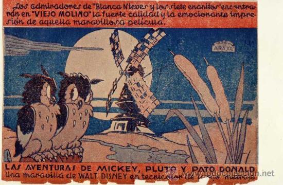 ARAJOL - LAS AVENTURAS DE MICKEY PLUTO Y PATO DONALD - WALT DISNEY (Cine - Folletos de Mano - Infantil)