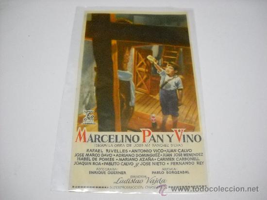 MARCELINO PAN Y VINO. PABLITO CALVO. PROGRAMA SENCILLO. PUBLICIDAD CINES BILBAO Y VELAZQUEZ. (Cine - Folletos de Mano - Infantil)