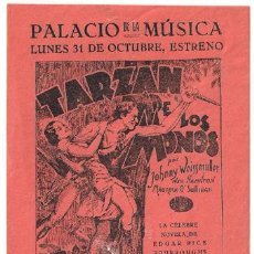 Cine: TARZAN DE LOS MONOS PROGRAMA SENCILLO LOCAL MGM JOHNNY WEISSMULLER MAUREEN O'SULLIVAN. Lote 17923915