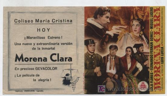 MORENA CLARA. DOBLE DE CIFESA. COLISEO MARÍA CISTINA - LARACHE. (Cine - Folletos de Mano - Drama)