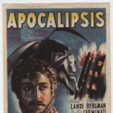Foglietti di film di film antichi di cinema: APOCALIPSIS. SENCILLO DE HISPARTIS FILMS. CINE PROTECTORA.. Lote 16271490