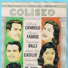 Cine: CUENTOS DE ROMA. FRANCO FABRIZI, VITTORIO DE SICA. COLISEO, 1957. IMPRENTA TALLERES PENITENCIARIOS.. Lote 16297903