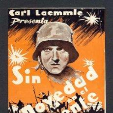 Cine: PROGRAMA DE CINE SIN NOVEDAD EN EL FRENTE (DOBLE, 1932). Lote 16417870