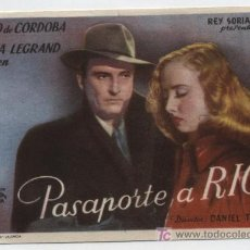 Cine: PASAPORTE A RÍO. SENCILLO DE REY SORIA FILMS. CINE REX - MUGARDOS.. Lote 16436984
