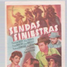 Cine: SENDAS SINIESTRAS. SENCILLO DE FILMÓFONO. CINE ESPAÑOL - YBARS DE URGELL 1946.. Lote 16586458