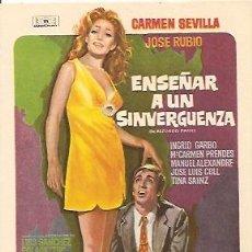 Cine: PROGRAMA DE MANO DEL FILM ENSEÑAR A UN SINVERGUENZA CON CARMEN SEVILLA.. Lote 16814698