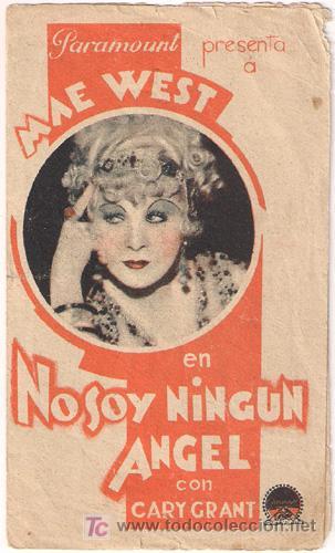 NO SOY NINGUN ANGEL PROGRAMA DOBLE PARAMOUNT CARY GRANT MAE WEST (Cine - Folletos de Mano - Comedia)