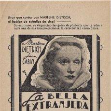 Cine: LA BELLA EXTRANJERA PROGRAMA SENCILLO LOCAL MARLENE DIETRICH JEAN GABIN. Lote 16920761