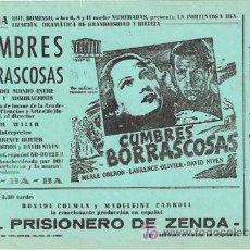 Cine: CUMBRES BORRASCOSAS PROGRAMA SENCILLO LOCAL LAURENCE OLIVIER MERLE OBERON. Lote 16920980