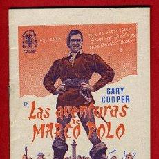 Cine: LAS AVENTURAS DE MARCO POLO, PROGRAMA LIBRITO, GARY COOPER , S1698. Lote 17062214