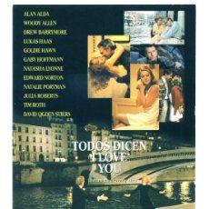 Cine: TODOS DICEN I LOVE YOU, CON WOODY ALLEN . PROGRAMA-POSTAL. Lote 178389076