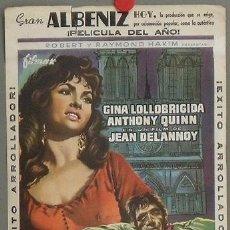 Cine: NOTRE DAME DE PARIS PROGRAMA SENCILLO GRANDE FILMAX GINA LOLLOBRIGIDA ANTHONY QUINN. Lote 17879307