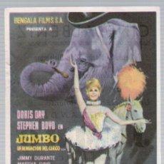 Cine: JUMBO. SENCILLO DE BENGALA FILMS. CINE ALBÉNIZ - MÁLAGA 1963.. Lote 17920799