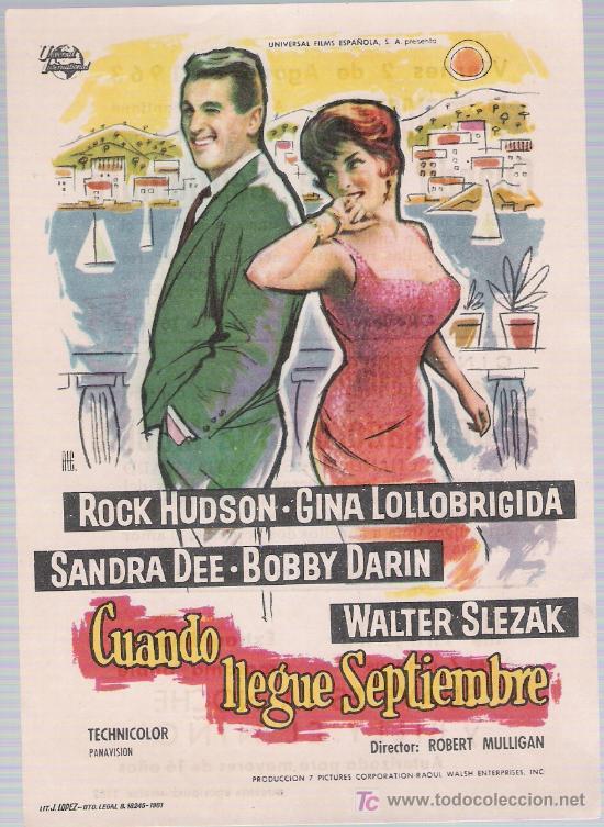 CUANDO LLEGUE SEPTIEMBRE.SENCILLO DE UNIVERSAL INTERNATIONAL.CINE ALCAZABA - MÉRIDA 1963. (Cine - Folletos de Mano - Comedia)