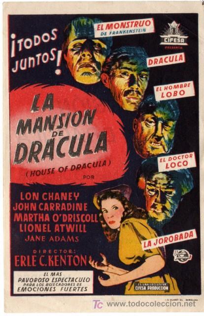 LA MANSIÓN DE DRÁCULA - CON LON CHANEY (Cine - Folletos de Mano - Terror)