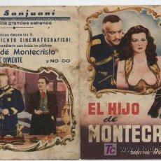 Cine: EL HIJO DE MONTECRISTO. DOBLE DE CIFESA. CINE SANJUANÍ.. Lote 18014661