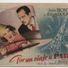 Cine: POR UN VIAJE A PARÍS. SENCILLO DE MERCURIO. PALACIO CINEMA - VALENCIA 1945.. Lote 18015704