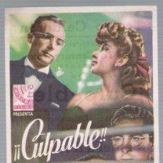 Cine: CULPABLE. SENCILLO DE 20TH CENTURY FOX. TEATRO CALDERÓN - VALLADOLID 1945.. Lote 18043278
