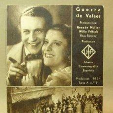 Cine: PROGRAMA DE CINE, TARJETA, GUERRA DE VALSES, RENATE MULLER, WILLY FRITSCH, UFA, 1934. Lote 18270978