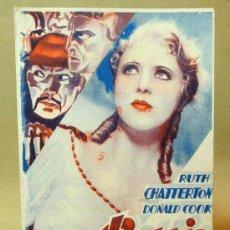 Cine: PROGRAMA DE CINE, TARJETA, BARRIO CHINO, RUTH CHATTERTON, DONALD COOK, FIRST NATIONAL, 1934. Lote 18271308