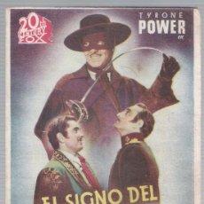 Cine: EL SIGNO DEL ZORRO. DOBLE DE 20TH CENTURY FOX.. Lote 18312959