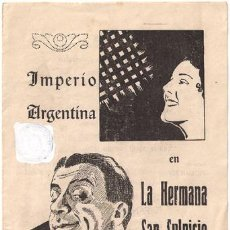 Cine: LA HERMANA SAN SULPICIO PROGRAMA DOBLE CANCIONERO CIFESA CINE ESPAÑOL IMPERIO ARGENTINA. Lote 18589804