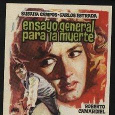 Cine: P-0627- ENSAYO GENERAL PARA LA MUERTE (SUSANA CAMPOS - CARLOS ESTRADA - ROBERTO CAMARDIEL). Lote 178883287