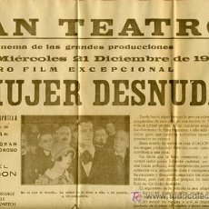 Cine: LA MUJER DESNUDA , 1927, TAMAÑO PASQUIN MUY RARO , S1784. Lote 24074341