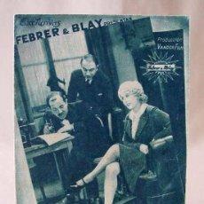 Cine: PROGRAMA DE CINE, MATRIMONIO EN SDAD LTDA, FEBRER & BLAY, VANDOR FILM, 1938, JEAN DE LIMUR, FLORELLE. Lote 18840826