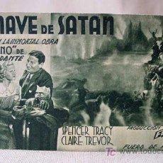 Cine: PROGRAMA, TARJETA DE CINE, LA NAVE DE SATAN, FOX, SPENCER TRACY, CLAIRE TREVOR. Lote 18841049
