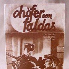 Cine: RARO, PROGRAMA DE CINE, CHOFER CON FALDAS, 1938, JEANNE BOITEL, ARMAND BERNARD, HERBERT SELPIN. Lote 20739850
