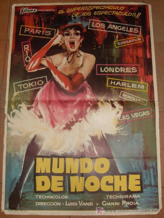 CARTEL ORIGINAL DE LA PELICULA MUNDO DE NOCHE. MEDIDAS 70X100 CM. (Cine - Folletos de Mano - Comedia)