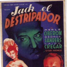Cine: PROGRAMA DE CINE - JACK EL DESTRIPADOR - MERLE OBERON - AÑO 1.944 - CON PUBLICIDAD. Lote 18955323
