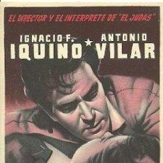 Cinema: PROGRAMA DE MANO DEL FILM FUEGO EN LA SANGRE CON ANTONIO VILAR. Lote 19252028