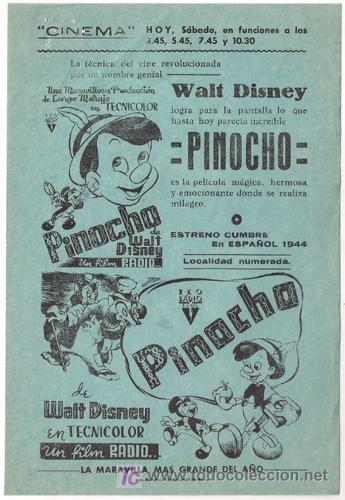 PINOCHO PROGRAMA SENCILLO LOCAL WALT DISNEY (Cine - Folletos de Mano - Infantil)