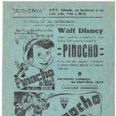 Cine: PINOCHO PROGRAMA SENCILLO LOCAL WALT DISNEY. Lote 19806396