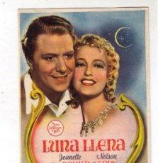 Cine: PROGRAMA DE CINE - LUNA LLENA - JEANETTE MACDONALD - AÑO 1.940 - CON PUBLICIDAD. Lote 19828112
