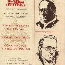 Cine: VIA Y MUERTE DE PIO XI, PUBLI CINEMA. Lote 21555830