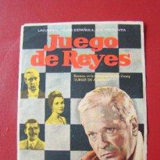 Cine: JUEGO DE REYES, CURD JURGENS, CLAIRE BLOOM, C/P. CINE ALBENIZ, MUY BUSCADO POR COLECCIONITAS. Lote 26893422