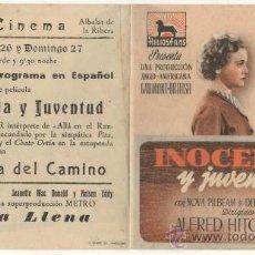 Cinema - PROGRAMA DE MANO CINE PROSPECTO INOCENCIA Y JUVENTUD ALFRED HITCHCOCK HELIOS FILMS IDEAL CINEMA - 19979919