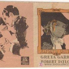 Cine: PR3 MARGARITA GAUTIER PROGRAMA DOBLE PEQUEÑO DESPLEGABLE MGM GRETA GARBO ROBERT TAYLOR. Lote 20200972