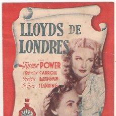 Cine: PR3 LLOYDS DE LONDRES PROGRAMA DOBLE 20TH CENTURY FOX TYRONE POWER MADELEINE CARROLL. Lote 20214228