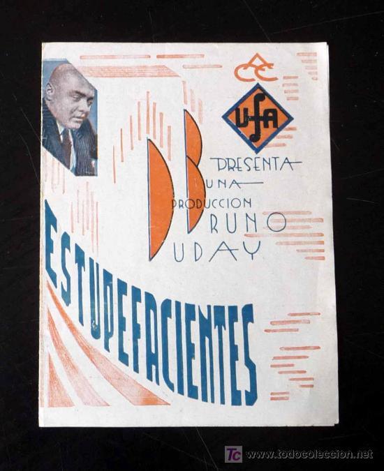 UNICO, PROGRAMA DE CINE, ESTUPEFACIENTES, UFA, BRUNO DUBAY, 1933, DANIELE DAROLA, JEAN MURAT (Cine - Folletos de Mano - Suspense)