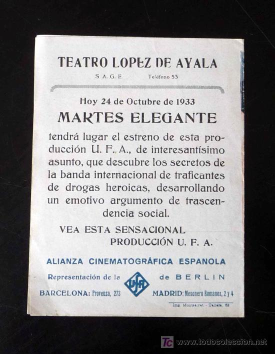 Cine: UNICO, PROGRAMA DE CINE, ESTUPEFACIENTES, UFA, BRUNO DUBAY, 1933, DANIELE DAROLA, JEAN MURAT - Foto 2 - 20233947