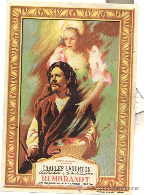 REMBRANDT. CHARLES LAUGHTON, DIBUJO DE RAMON (Cine - Folletos de Mano - Drama)