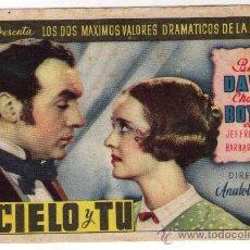 Cine: PROGRAMA DE CINE - EL CIELO Y TÚ - BETTE DAVIS - AÑO 1.940 - SIN PUBLICIDAD. Lote 20649258