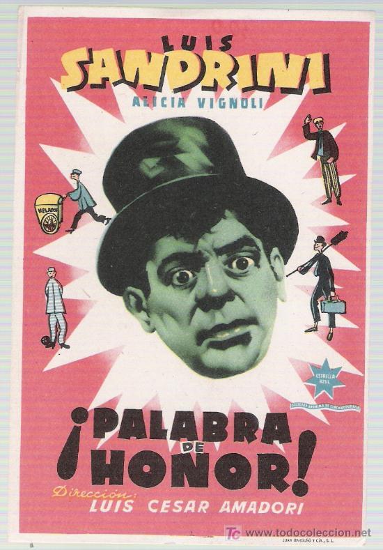 ¡PALABRA DE HONOR!. SENCILLO DE ESTRELLA AZUL. (Cine - Folletos de Mano - Comedia)