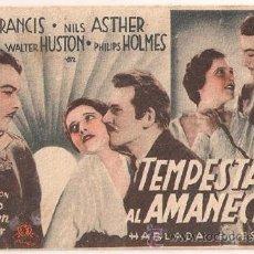 Cine: D TEMPESTAD AL AMANECER PROGRAMA TARJETA MGM KAY FRANCIS WALTER HUSTON JEAN PARKER. Lote 21396703