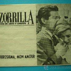 Cine: PROGRAMA FOLLETO 4 HOJAS HIROSHIMA MON AMOUR PUBLICIDAD CINE ZORRILLA VALLADOLID Y TONICA SCHWEPPES. Lote 27001437