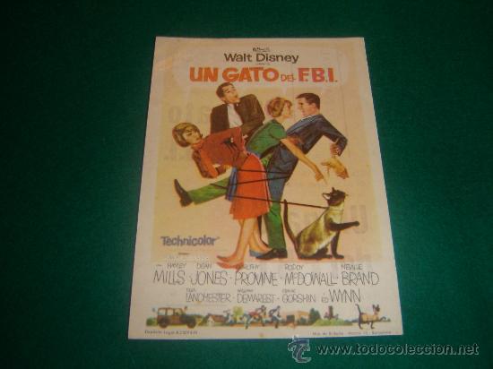 WALT DISNEY - UN GATO DEL F.B.I. - CON PUBLICIDAD - IMPECABLE (Cine - Folletos de Mano - Infantil)